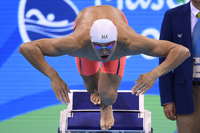 China's Sun Yang competes in the Men's 200m Freestyle Final during the swimming event at the Rio 2016 Olympic Games at the Olympic Aquatics Stadium in Rio de Janeiro on August 8, 2016. / AFP PHOTO / GABRIEL BOUYS